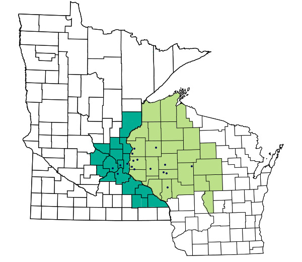 Map of counties for RCU