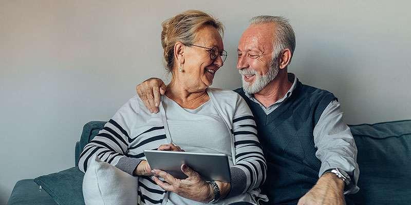 Senior couple on a tablet
