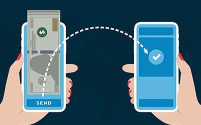 Illustration of two phones transferring money