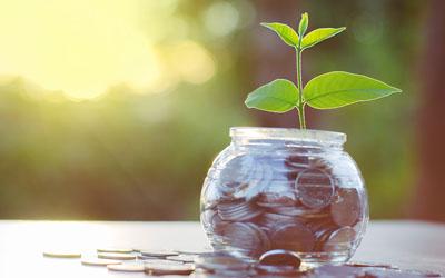 Jar of money growing