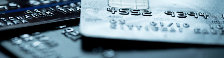Close up of credit cards for identity theft