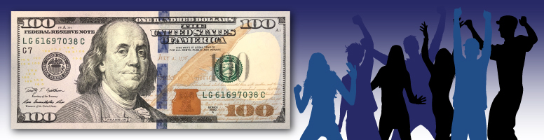 people silhouettes in front of $100 bill