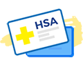 card with medical plus sign and hsa icon