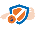 Shield and dollar sign protection icon